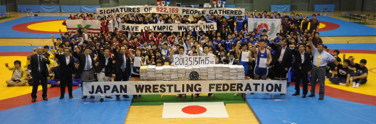 Tokyo'daki Doğu Japonya üniversite güreş lig şampiyonluğu turnuva rekabet yaklaşık 200 güreşçi Olimpiyat Oyunları yaş eski spor korunması için çağrıda bulunan bir dilekçe imzaladı 922,169 kişi ile Olimpiyat güreş kaydetmek için itiraz katıldı.